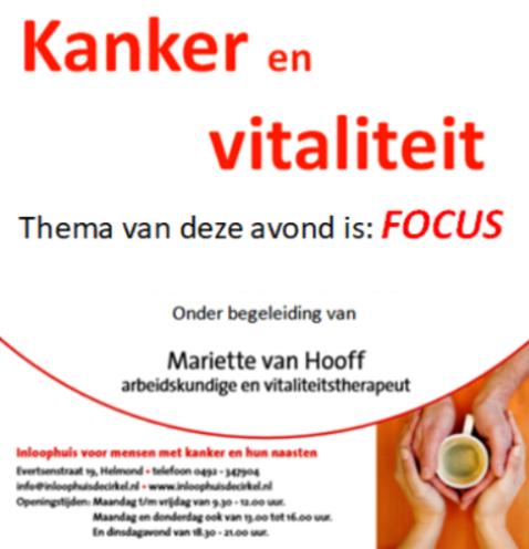 """Bijeenkomst kanker en vitaliteit """"Focus"""""""
